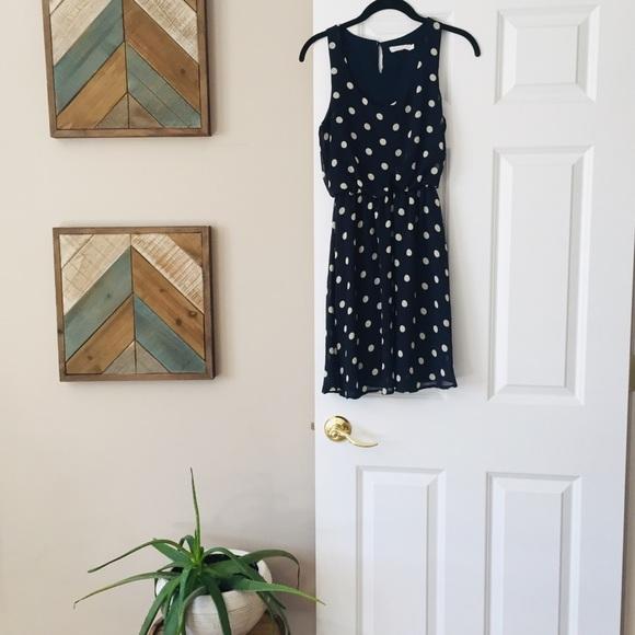 Lush Dresses & Skirts - Lush-Navy polka dot sleeveless dress